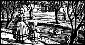 wood-engraving print: In the Park for Four Tales from Hans Andersen